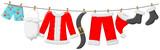 Weihnachtsmann Kostüm hängt an Leine - 172508180