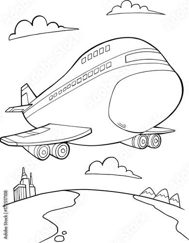 Papiers peints Cartoon draw Jumbo Jet Aircraft Vector Illustration Art