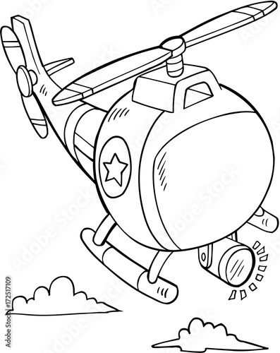 Papiers peints Cartoon draw Cute Police Rescue Helicopter Vector Illustration Art