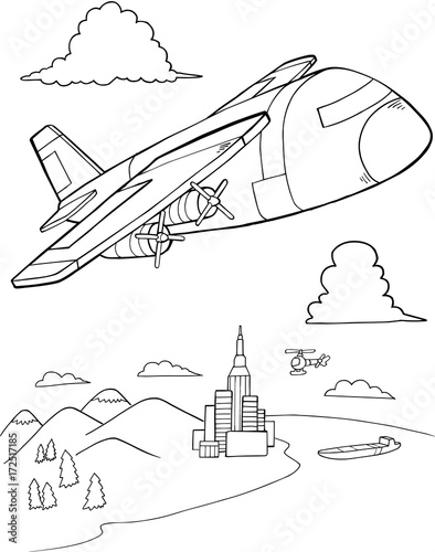 Fotobehang Cartoon draw Cute Aircraft Vector Illustration Art