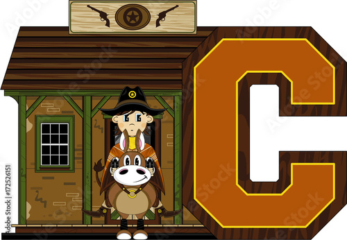 Sticker C is for Cowboy Alphabet Learning Illustration