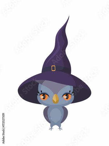 Foto op Plexiglas Uilen cartoon Little cute owl in a witch hat in a cartoon style. Children's illustration on white background.