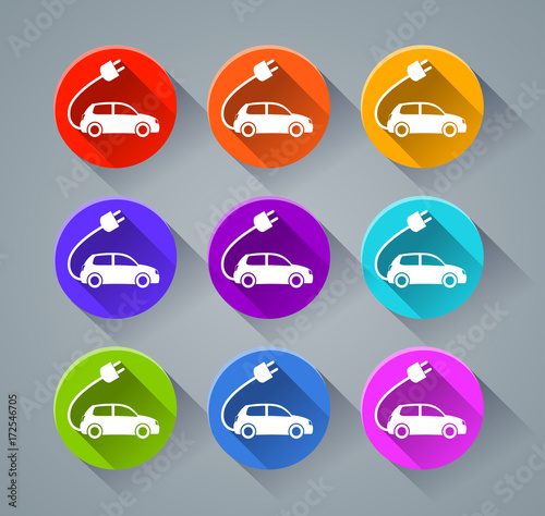 electric car icons with various colors
