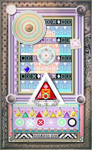 Keuken foto achterwand Imagination Sfondo etnico e psichedelico con mandala,bersagli ,segni,frecce e forme astratte e geometriche