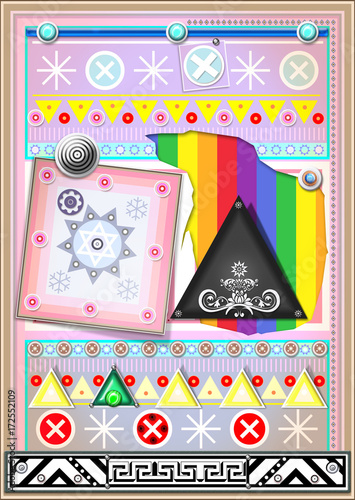 In de dag Imagination Sfondo etnico e psichedelico con mandala,bersagli e forme astratte e geometriche