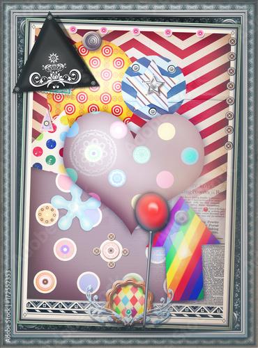 Keuken foto achterwand Imagination Sfondo etnico e psichedelico con cuore a pois, mandala,bersagli e forme astratte e geometriche