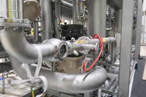 Staande foto Industrial geb. industry stainless pipe in food product factory