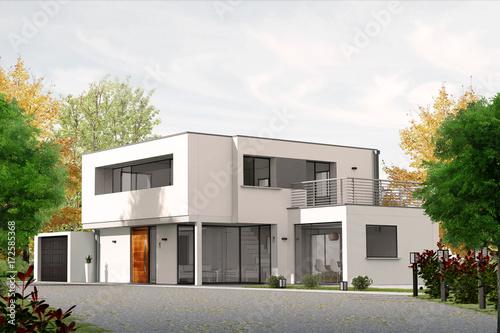 Fototapeta Projet de construction de maison d'architecte