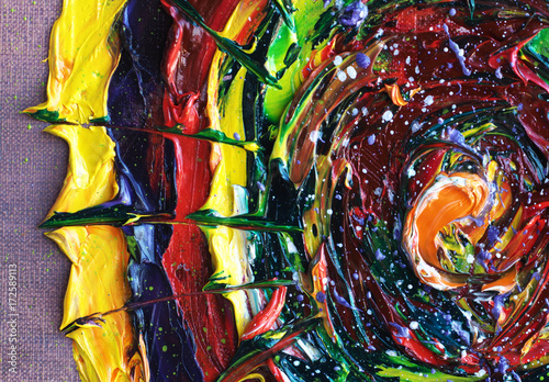 Colorful Fantasy Abstract Oil Painting Background. Brightly Expressed Oil on Canvas Texture. Hand Painted. Modern Art.  © shvets_tetiana