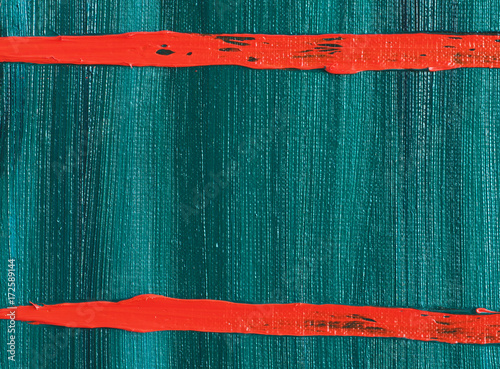 Abstract Oil Painting Background With Two Horizontal Red Stripes. Oil on Canvas. Original Hand-Painted Art Picture. Brightly Expressed Texture. © shvets_tetiana