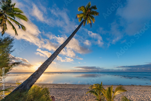 Fotobehang Zee zonsondergang Polynesia beach Wonderful red sunset on coconut tree