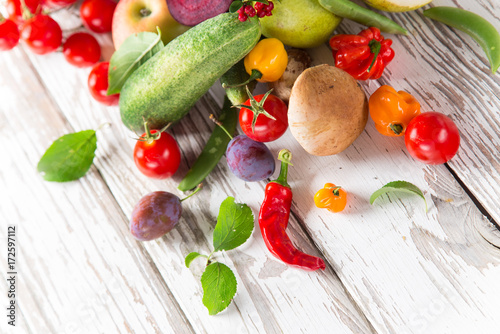 Bio vegetables on old wooden table. - 172597112