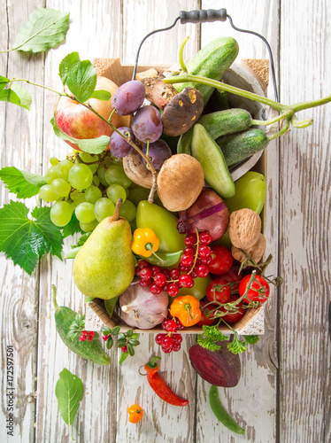 Bio vegetables on old wooden table. - 172597501