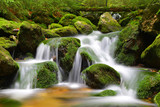 Waterfall on mountain stream in the National park Sumava-Czech Republic - 172604326