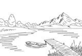 Lake bridge graphic black white landscape sketch illustration vector - 172605936