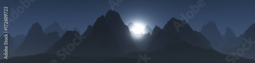 Fotobehang Nachtblauw silhouettes of mountains against the sky, panorama of mountains, banner, 3d rendering