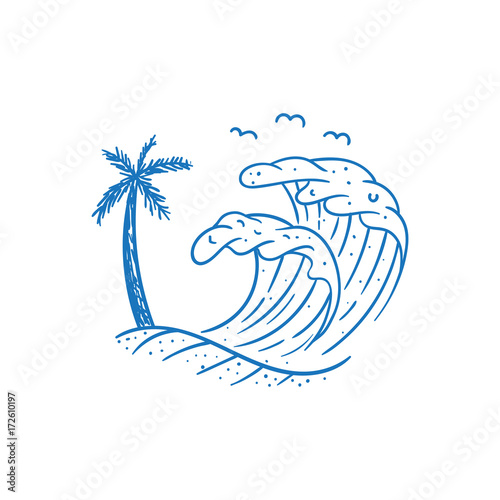 beach wave vector illustration