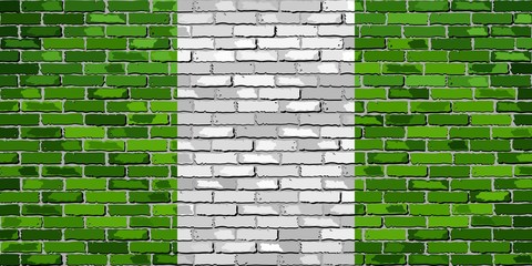 Flag of Nigeria on a brick wall - Illustration, Nigeria flag on brick textured background, Abstract grunge vector