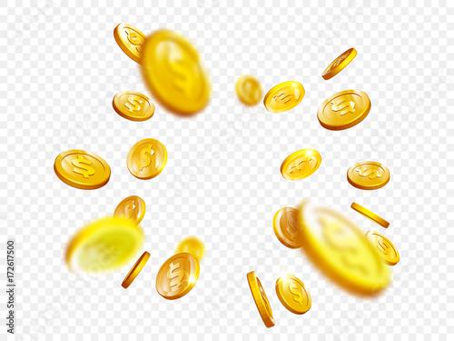 Złotej monety pluśnięcia bingo najwyższa wygrana wygrana kasynowy grzebak monet wektorowy 3D tło