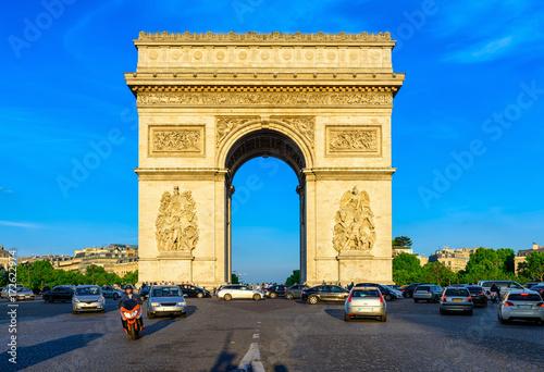 Paris Arc de Triomphe (Triumphal Arch) in Chaps Elysees at sunset, Paris, France Poster