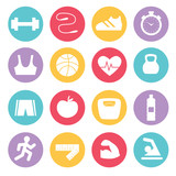 Fitness icons set in flat design, vector illustration.