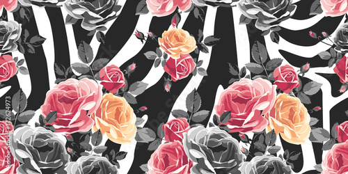 Roses seamless pattern on zebra background. Animal abstract print. Vector illustration - 172624973