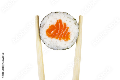 Foto op Canvas Sushi bar Maki roll isolated on white