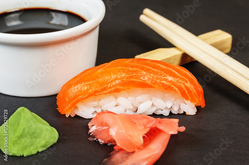 Foto op Canvas Sushi bar Sushi with salmon