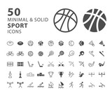Set of 50 Minimal and Solid Sport Icons on White Background . Vector Isolated Elements