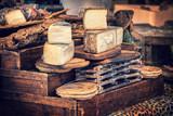 Italian pecorino cheese on a wooden rustic display - 172634712