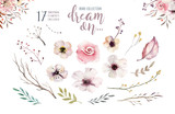 Set of watercolor boho floral foliage. Watercolour bohemian natural frame: leaves, feathers, flowers, Isolated on white background. Artistic decoration illustration. - 172663916