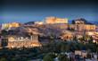 Der Parthenon Tempel auf der Akropolis von Athen am Abend in Griechenland