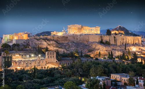 Papiers peints Athenes Der Parthenon Tempel auf der Akropolis von Athen am Abend in Griechenland