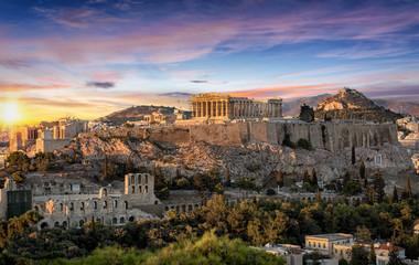 Die Akropolis von Athen, Griechenland, bei Sonnenuntergang © moofushi