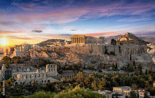 Foto op Plexiglas Athene Die Akropolis von Athen, Griechenland, bei Sonnenuntergang