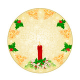 Button square Christmas decoration snowflakes red candlestick and poinsettia vintage  vector illustration editable hand draw