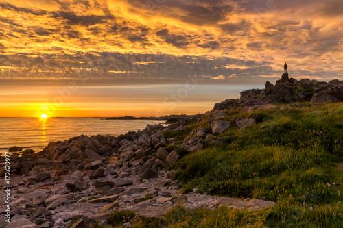 Foto op Plexiglas Zee zonsondergang Sunset in Norwegian landscape