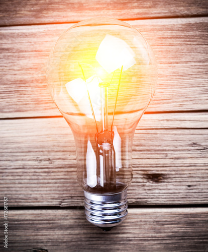 bulb on the brown wooden background - 172681767