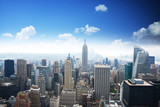 Manhattan panorama in summer time with blue sky, Empire State Building in the center of the picture - 172682301