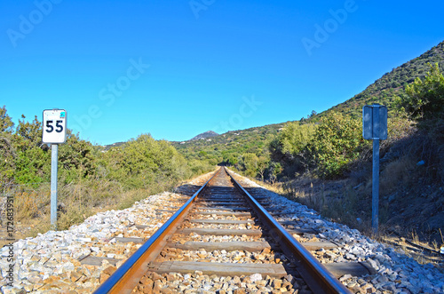 In de dag Spoorlijn Ferrovie, binari e strade in attesa del treno in arrivo.