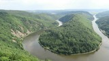 View over the Saar river loop next to Mettlach in Saarland (Germany). - 172686315