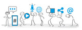 Soziale medien - Banner social media icons vector illustration wih stick figures - 172688110