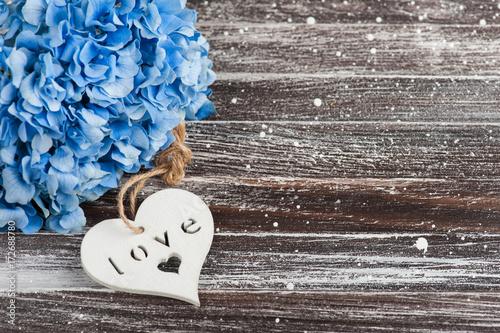Fotobehang Hydrangea Blue hydrangea bouquet, heart