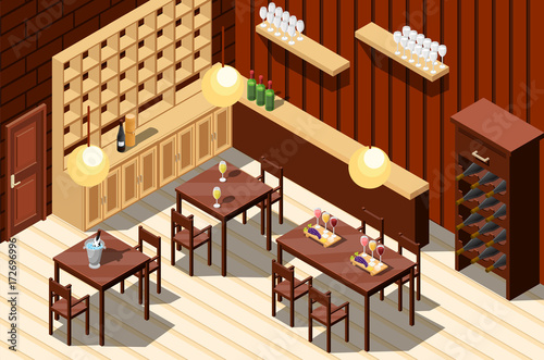Wine Restaurant Isometric Interior - 172696996