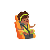 Adorable african little girl sitting in orange car seat, safety car transportation of small kids vector illustration