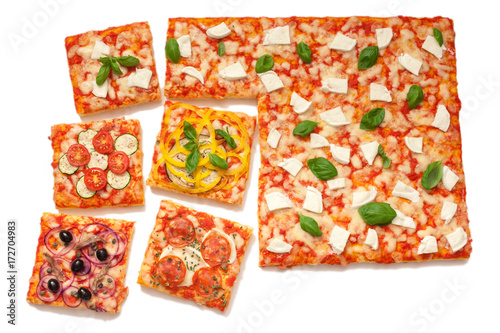 various flavors pizza cut into slices Poster