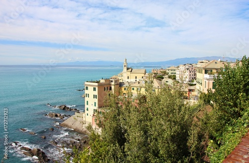 Poster Liguria Panoramic view of Boccadasse from above, Genoa, Italy