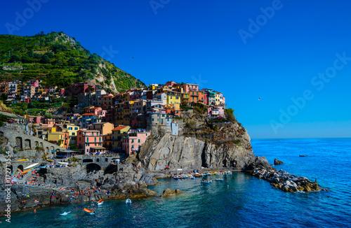 Kunterbuntes Manarola in Cinque Terre an einem schönen Sommertag Poster