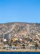 Valparaiso, Chile - Circa February 2012: A view of Valparaiso's harbor, cityscape and steep hills