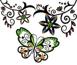 Vector of Colorful Butterfly with flowers